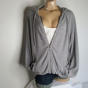 Chaser grey hooded zip-up sweatshirt Size L